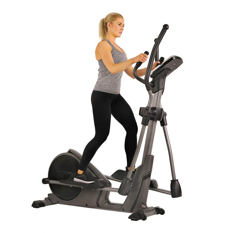 Sunny Health Fitness SF-E3912 Magnetic Elliptical Trainer Machine with Device Holder Programmable Monitor and Heart Rate Monitoring
